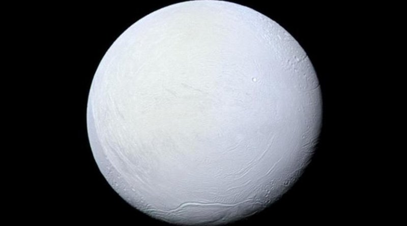 During its 'snowball' phase, the Earth may have resembled Enceladus, a moon of Saturn that is covered in snow and ice. Credit NASA/JPL-Caltech/Space Science Institute