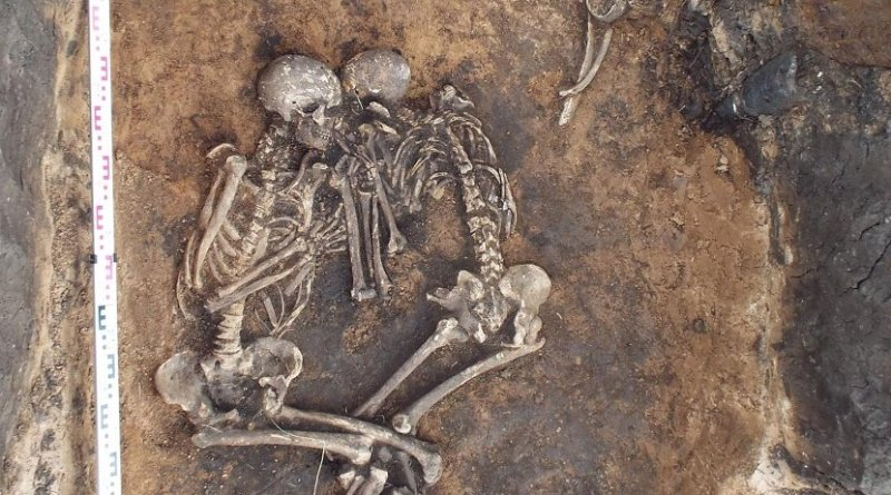 Double burial of the two plague victims in the Samara region, Russia. Credit V.V. Kondrashin and V.A. Tsybin; Spyrou et al. 2018. Analysis of 3,800-year-old Yersinia pestis genomes suggests Bronze Age origin for bubonic plague. Nature Communications.