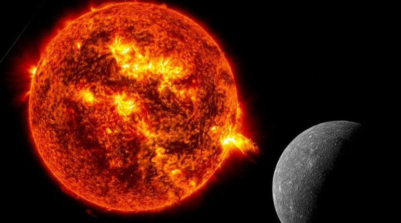 Particles from the sun are constantly hitting the surface of mercury. Credit pictures: NASA, montage: TU Wien