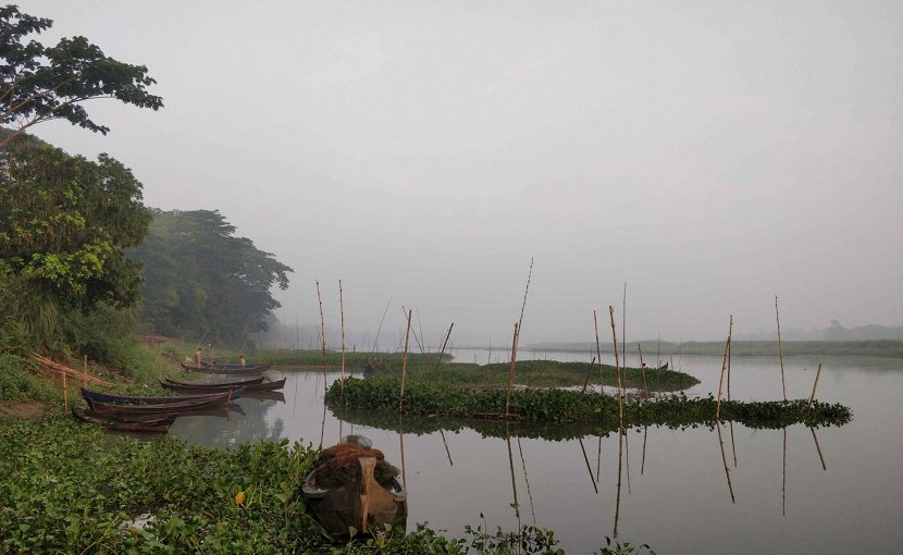 This is a misty morning on an oxbow lake in the Ayeyawady River delta. Credit Photo by Liviu Giosan, Woods Hole Oceanographic Institution