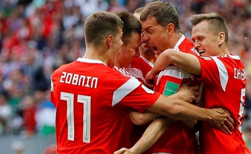 Russia football players celebrate goal in 5-0 rout over Saudi Arabia in World Cup. Photo Credit: Tasnim News Agency.