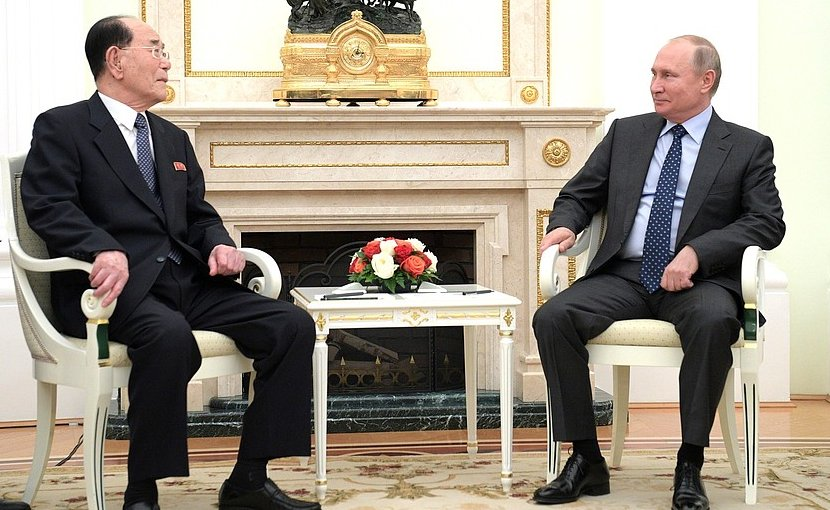 Russia's President Vladimr Putin with Chairman of the DPRK (North Korea) Supreme People's Assembly Presidium Kim Yong-nam. Photo Credit: Kremlin.ru