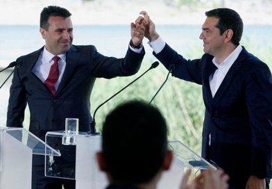 Macedonian PM Zoran Zaev [left] and Greek PM Alexis Tsipras [right] in the border village of Psarades. Photo: EPA