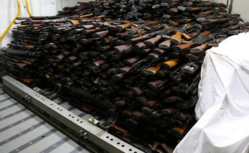 A cache of weapons is assembled on the deck of the destroyer USS Gravely. The weapons were seized from a stateless dhow which was intercepted by the coastal patrol ship USS Sirocco (PC 6) on March 28, 2016