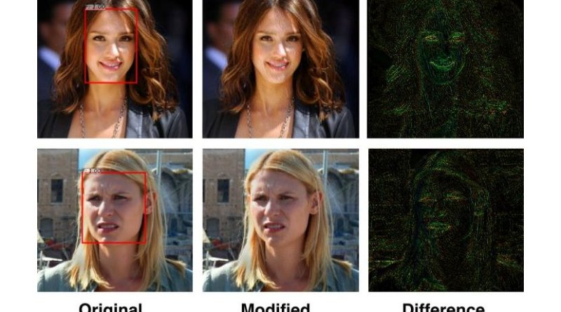 Researchers in U of T Engineering have designed a 'privacy filter' that disrupts facial recognition algorithms. The system relies on two AI-created algorithms: one performing continuous face detection, and another designed to disrupt the first. Credit Avishek Bose