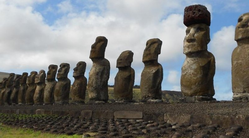 Restored statue platform with standing moai on the south coast of Rapa Nui. Note that one of the moai is adorned with a red scoria pukao. Credit Sean Hixon