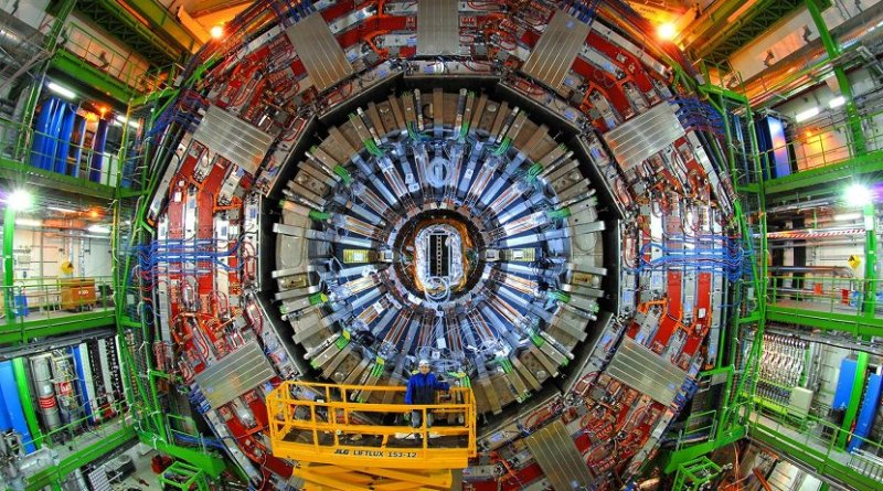 CMS detector in a cavern 100 m underground at CERN's Large Hadron Collider. Credit CERN