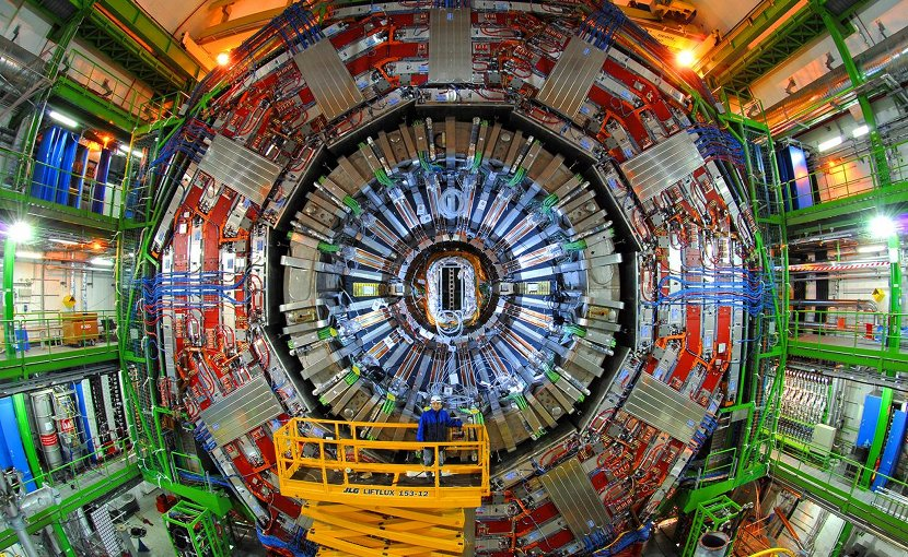 CMS detector in a cavern 100 m underground at CERN's Large Hadron Collider. Credit CERN