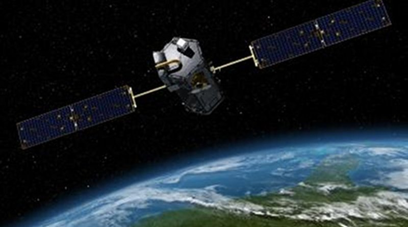 """Artist rendering of OCO-2 Observatory used in the UNH research that measured the plant """"glow"""", or solar-induced fluorescence (SIF), produced during photosynthesis from different areas around the globe. Credit NASA/JPL-Caltech"""