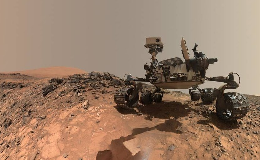 """This low-angle self-portrait of NASA's Curiosity Mars rover shows the vehicle at the site from which it reached down to drill into a rock target called """"Buckskin"""" on lower Mount Sharp. Credits: NASA/JPL-Caltech/MSSS"""