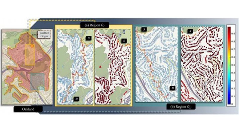 A region of Oakland affected by a 1991 wildfire showing the point of fire origin. Two regions are selected for analysis with different wind directions. For both regions, vulnerability for each direction is calculated from the source in their respective layouts. Significantly high vulnerability of all ways is observed in both layouts in the absence of any fire mitigation Credit Credit: Hussam Mahmoud and Akshat Chulahwat/Colorado State University; OpenStreetMap