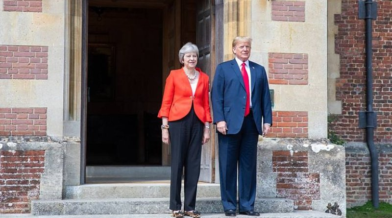 Prime Minister Theresa May welcomes President Donald J. Trump to her residence for a bilateral meeting | July 12, 2018 (Official White House Photo by Shealah Craighead)