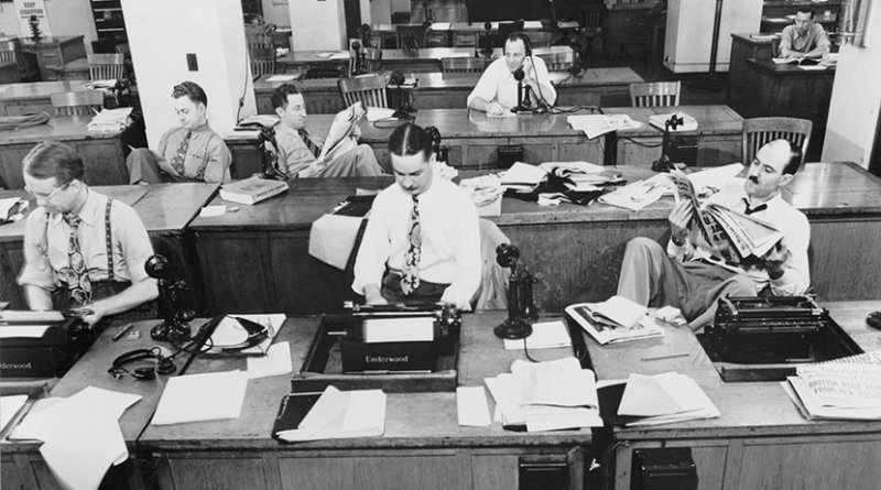 New York Times newsroom in 1942.
