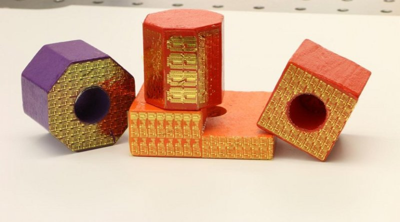 Electronic stickers can turn ordinary toy blocks into high-tech sensors within the 'internet of things.' Credit Purdue University image/Chi Hwan Lee