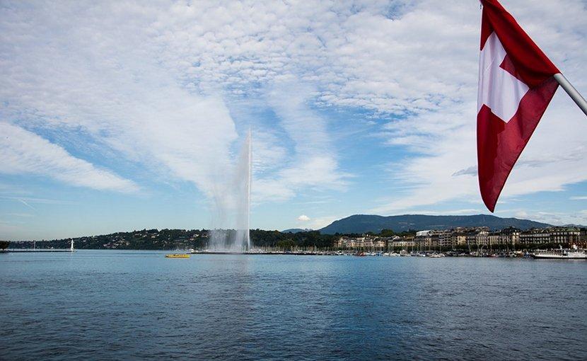 Geneva and Switzerland's flag.