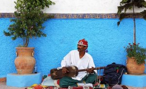 Street musician in Morocco.