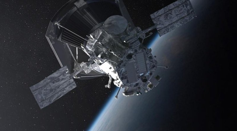 Illustration of NASA's Parker Solar Probe leaving Earth. Credit NASA/Johns Hopkins APL/Steve Gribben