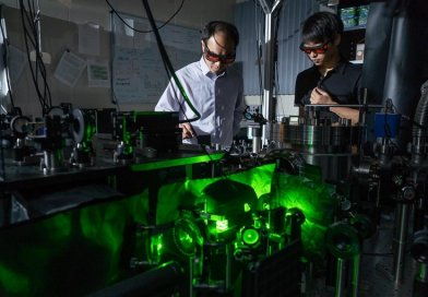 Tongcang Li and Jonghoon Ahn have levitated a nanoparticle in vacuum and driven it to rotate at high speed, which they hope will help them study the properties of vacuum and quantum mechanics. Credit Purdue University/Vincent Walter