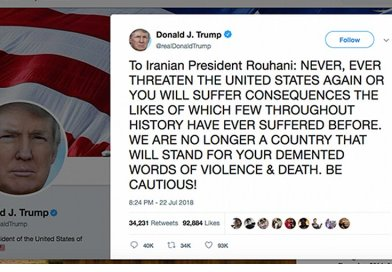 US President Donald Trump responds to Iran via Twitter.