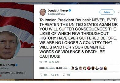 US President Donald Trump responds to Iran via Twitter.