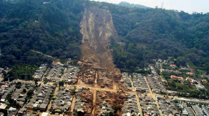 An earthquake-induced landslide in El Salvador in 2001. Credit US Geological Survey
