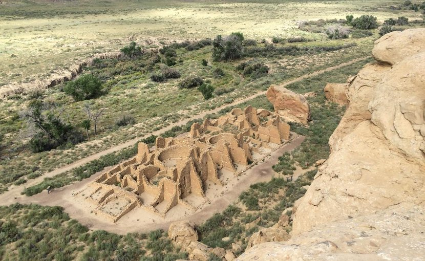 This is a view from a mesa of a Chaco Canyon great house called Kin Kletso. Credit Samantha Fladd/UC