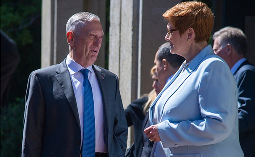 Australian Minister for Defence Marise Payne and Secretary of Defense James N. Mattis speak with each other following a session during the Australia-United States Ministerial Consultation at the Hoover Institute at Stanford University in Palo Alto, Ca., July 23, 2018. (DOD photo by Navy Petty Officer 1st Class Dominique A. Pineiro)