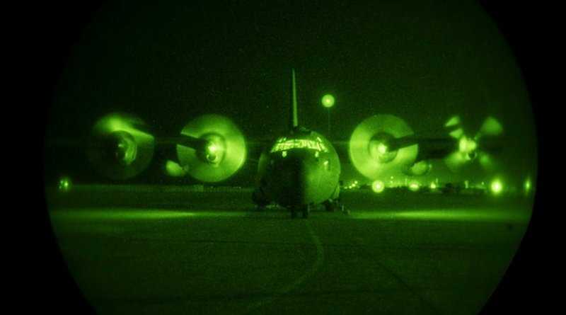 A U.S. Air Force C-130H Hercules assigned to the 746th Expeditionary Airlift Squadron at Al Udeid Air Base, Qatar, prepares to taxi down the runway for a combat airdrop mission in support of Combined Joint Task Force Inherent Resolve's Operation Roundup, June 11, 2018. The C-130H squadron is deployed from the 908th Airlift Wing, Maxwell Air Force Base, Ala. Air Force photo by Staff Sergeant Rion Ehrman