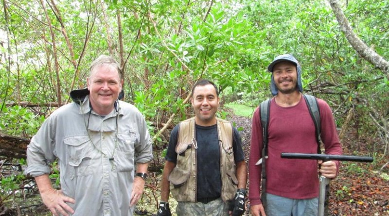 Scientists Robert Twilley, Edward Castaneda and Andre Rovai collect mangrove soil core samples on Sanibel Island, Florida for their global blue carbon study published in Nature Climate Change. Credit Andre Rovai, LSU.
