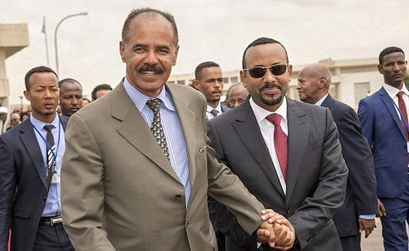 Eritrean Prime Minister Afwerki (left) and his Ethiopian counterpart Ahmed in Asmara. Credit: africanews via IDN.