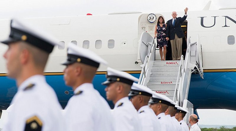 Vice President Mike Pence and Mrs. Karen Pence arrive in Colombia | August 13, 2017 (Official White House photo by Myles D. Cullen)