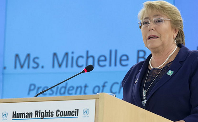Michelle Bachelet of Chile, newly-appointed as the next UN High Commissioner for Human Rights by Secretary-General António Guterres. UN Photo/Jean-Marc Ferre.