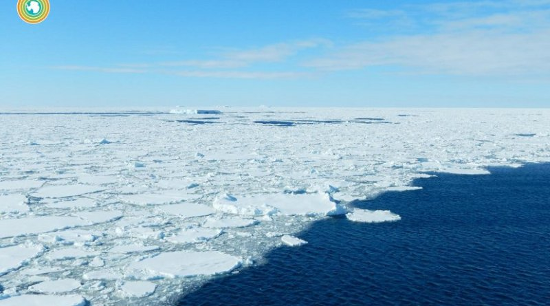 This is data captured by the floats show outgassing near the edge of the Antarctic sea ice. This photo was taken in January, during the Southern Ocean summer, when the floats were deployed. The higher-than-expected outgassing was seen in the stormier winter months. Credit Hannah Zanowski/University of Washington/Flickr