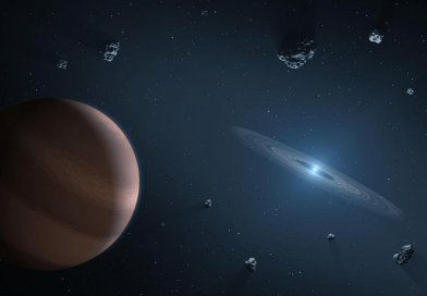 Artists impression of white dwarf star (on right) showing dust disc, and surrounding planetary bodies Credit NASA