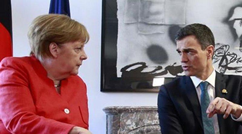 Spain's Pedro Sánchez and Germany's Angela Merkel. Photo Credit: File photo Pool Moncloa / JM Cuadrado