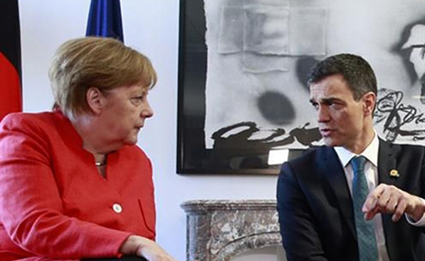Spain's Pedro Sánchez and Germany's Angela Merkel. Photo Credit: File photo Pool Moncloa / JM Cuadrado