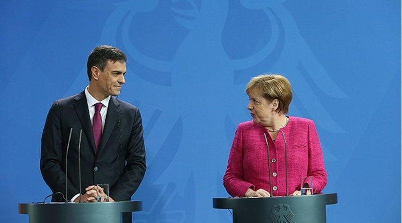 Spain's Pedro Sánchez and Germany's Angela Merkel. Photo Credit: File photo Pool Moncloa/Fernando Calvo