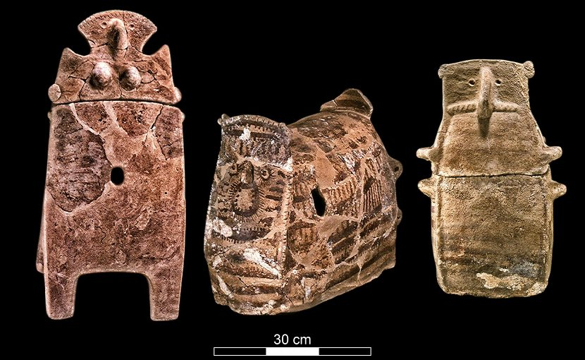 Ossuaries from the Chalcolithic Period, excavated at Peqi'in Cave. Credit Mariana Salzberger, courtesy of the Israel Antiquities Authority.