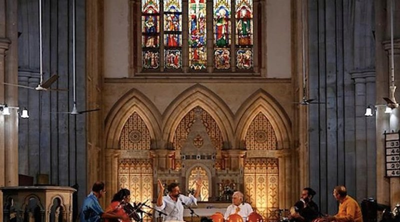 T.M. Krishna performs at the iconic Afghan Church in Mumbai on Dec. 17, 2017. He believes in using music for interreligious harmony by singing songs of Christian and Islamic themes using the Carnatic school of music, considered a bastion of upper-caste Hindus. (Photo courtesy of thenewsminute.com)
