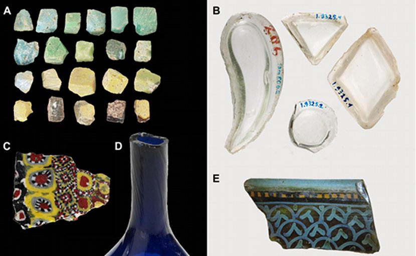 Glass artefacts from Samarra, including a range of vessel types, optical properties, and decorative techniques. Credit Images A, C and D from the Victoria and Albert Museum, London [http://collections.vam.ac.uk]; images B and E from the Museum für islamische Kunst / Staatliche Museen zu Berlin [www.smb-digital.de/eMuseumPlus]