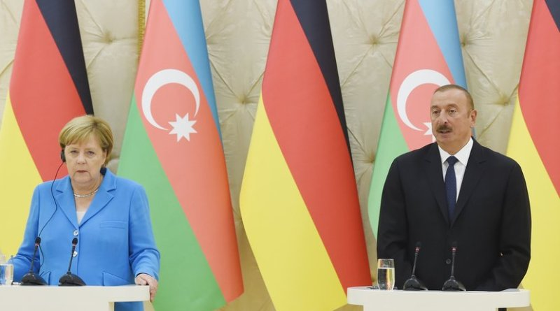 President of the Republic of Azerbaijan Ilham Aliyev and Federal Chancellor of the Federal Republic of Germany Angela Merkel hold a joint press conference. Photo Credit: Azerbaijan Presidency.