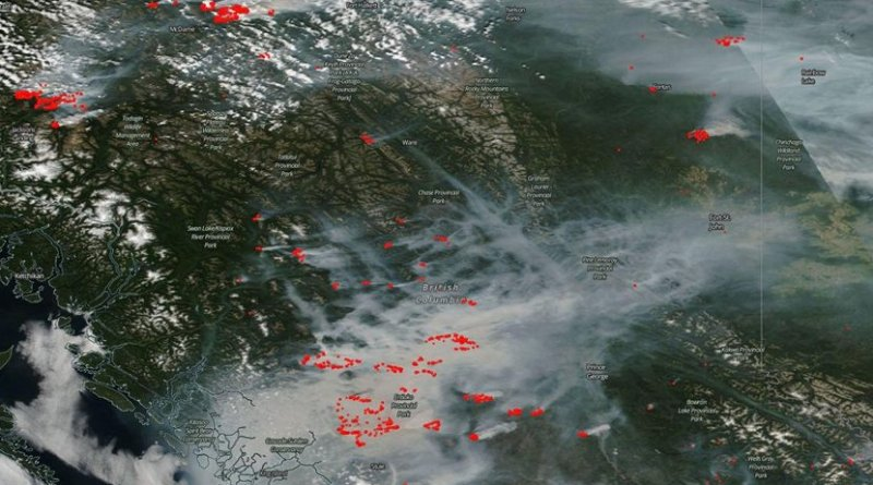 "British Columbia is on fire. In this Canadian province 56 wildfires ""of note"" are active and continuing to blow smoke into the skies overhead. Credit Image Courtesy: NASA Worldview, Earth Observing System Data and Information System (EOSDIS)."