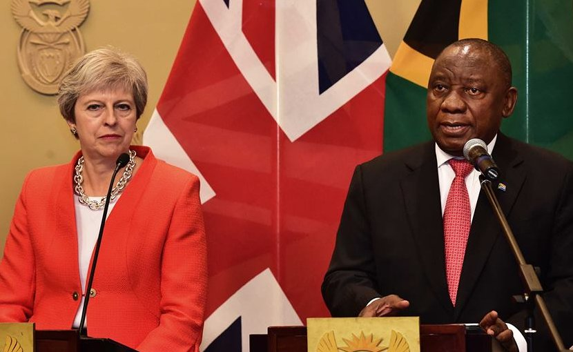 UK's Theresa May and South Africa's Cyril Ramaphosa. Photo Credit: SA News