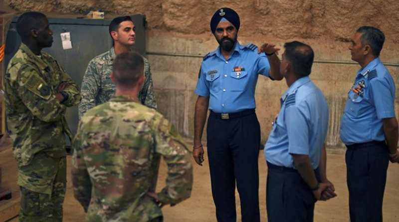American and Indian airmen learn from each other on Andersen Air Force Base, Guam, July 23, 2018. Defense and diplomatic leaders from both countries will meet in New Dehli in September to discuss opportunities for cooperation. Air Force photo by Airman 1st Class Gerald R. Willis