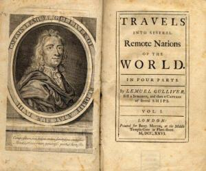 First edition of Gulliver's Travels by Jonathan Swift.