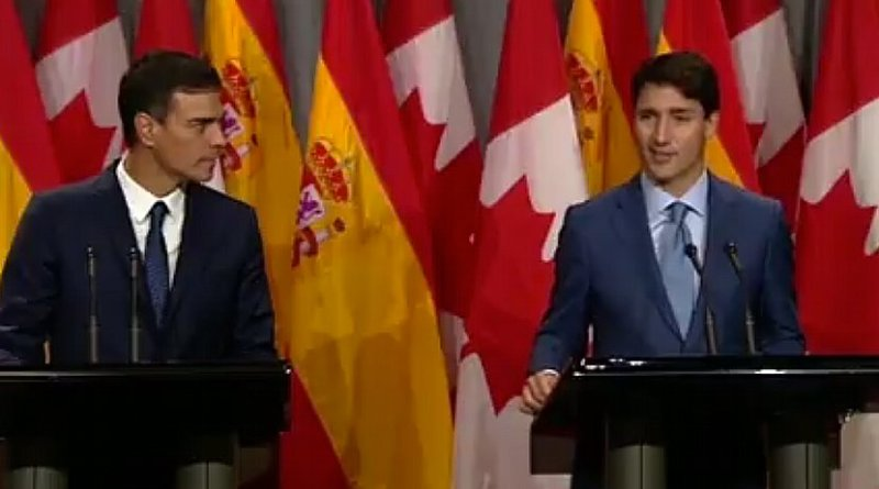 Spain's Prime Minister Pedro Sánchez with the Prime Minister of Canada, Justin Trudeau. Credit: Screenshot Moncloa video