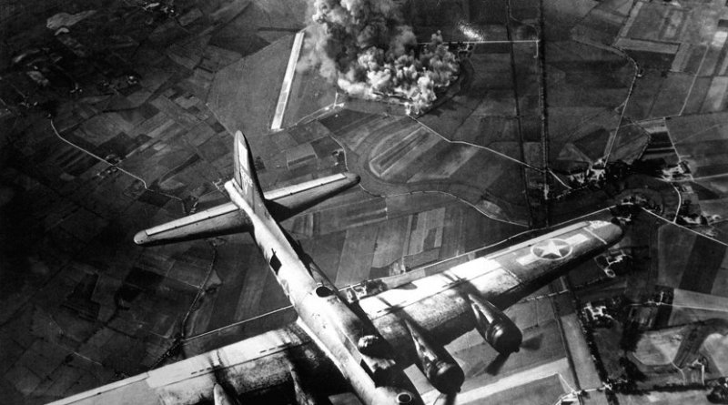 Bombing of a factory at Marienburg, Germany, on Oct. 9, 1943. Credit US Air Force