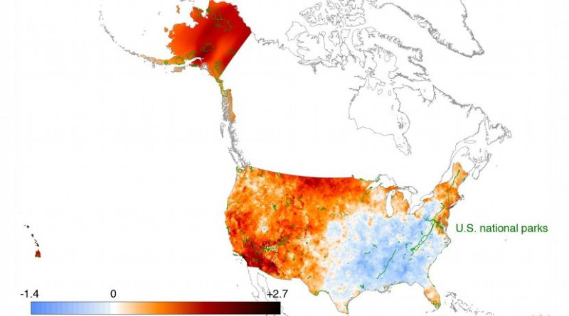 Using data from weather stations scattered throughout the U.S., climate researchers have created maps of the average annual temperature and rainfall totals at points approximately 800 meters apart over much of the United States. In this study, the team used these maps to calculate historical temperature and rainfall trends within the parks and over the U.S. as a whole. Credit Patrick Gonzalez