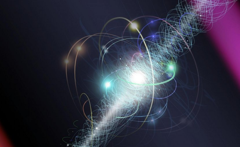 In this artist's representation, an electron orbits an atom's nucleus, spinning about its axis as a cloud of other subatomic particles are constantly emitted and reabsorbed. Several hypotheses predict particles, as yet undetected, would cause the cloud to appear slightly pear-shaped. ACME researchers peered at the shape with unprecedented, extreme precision. To the limits of their experiment, they saw a perfectly round sphere, implying that certain types of new particles -- if they exist at all -- have properties different from those theorists expected. Credit Nicolle R. Fuller, National Science Foundation