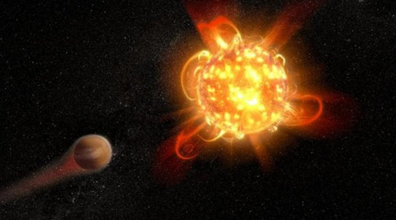 Violent outbursts of seething gas from young red dwarfs may make conditions uninhabitable on fledgling planets. In this artist's rendering, an active, young red dwarf (right) is stripping the atmosphere from an orbiting planet (left). ASU astronomers have found that flares from the youngest red dwarfs they surveyed -- approximately 40 million years old -- are 100 to 1000 times more energetic than when the stars are older. They also detected one of the most intense stellar flares ever observed in ultraviolet light -- more energetic than the most powerful flare ever recorded from our Sun. Credit NASA, ESA, and D. Player (STScI)